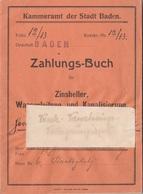 ZAHLUNGSBUCH 1920 Kammeramt Der Stadt BADEN - Historische Dokumente