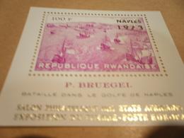 Miniature Sheet Rwanda Gulf Of Naples Battles Bruegel Paintings Ships 1973 Gold Overprint - Other