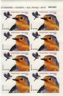 Andorra (Spain) 2019 Block 8 МNH Birds Robin (Erithacus Rubecula) Rouge-gorge Familier Bird EUROPA Oiseaux Oiseau - Vogels