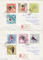 1968GRENOBLE - Ungarn - MiNr: 2379-2386 Komplett  Auf 2 RekoBelegen - Winter 1968: Grenoble