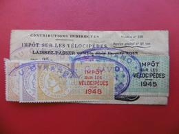 TIMBRE FISCAL IMPOT SUR LES VELOCIPEDES 1942 1948 LAISSER PASSER SAVELON LE PUY AU CYRANO - Steuermarken
