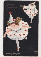 Carte  Fantaisie .Illustrateur Sandford  / Pierrot , Colombine .L'attrapera ! L'attrapera Pas ! Scenting Danger - Illustrateurs & Photographes