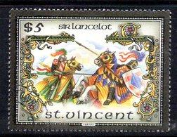 CI1363i - ST. VINCENT , 5 Dollari Yvert N. 968 Usato . Sir Lancelot - St.Vincent (1979-...)