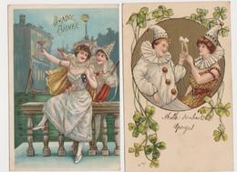 2 Cartes Fantaisie Gaufrées  / Pierrot Et Colombine .Bonne Année .Champagne - Fantaisies