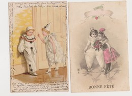2 Cartes Fantaisie   / Enfants ,  Pierrot Et Colombine .Bonne Fête - Fantaisies