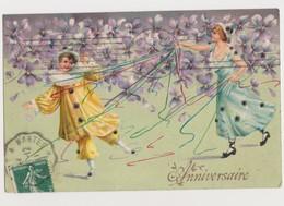 Carte Fantaisie   /   Enfants .Pierrot Et  Colombine .Anniversaire - Fantaisies
