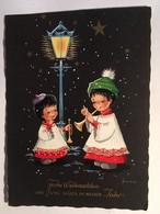 CPA,CPSM Frohe Weihnachten Und Viel Glück Im Neuen Jahr, Illustrateur Frankie, Deux Enfants Musiciens Sous Un Lampadaire - Noël