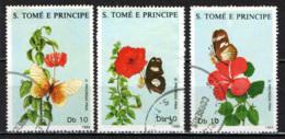 S. TOME' E PRINCIPE - 1988 - FIORI E FARFALLE - FLOWERS AND BUTTERFLIES - USATI - St. Thomas & Prince