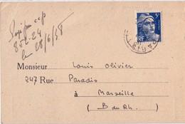PARIS - 5f BLEU - GANDON - SEUL SUR CARTE DE L'AGENCE COMPTABLE DES TIMBRES POSTE COLONIAUX - 22-6-1948. - Postmark Collection (Covers)