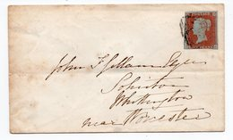 1852 GREAT BRITAIN, INTERNAL MAIL, DROITWICH TO WORCESTER, WAX SEAL - 1840-1901 (Victoria)
