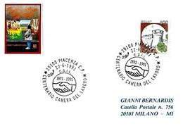 ITALIA - 1991 PIACENZA Centenario CAMERA DEL LAVORO 1891-1991 - Organizzazioni