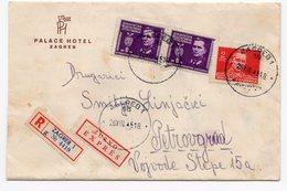1946 YUGOSLAVIA, CROATIA, ZAGREB TO PETROVGRAD, ZRENJANIN, PALACE HOTEL, RECORDED, EXPRESS, LETTER ON HEADED PAPER - 1945-1992 Socialist Federal Republic Of Yugoslavia
