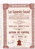Ancien Titre - Les Tanneries Gérard - Société Anonyme - Titre De 1948 - Industrie