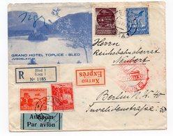 1934 YUGOSLAVIA, SLOVENIA, BLED TO BERLIN, GERMANY, GRAND HOTEL TOPLICE, AIR MAIL, RECORDED - 1931-1941 Kingdom Of Yugoslavia