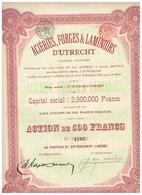 Ancien Titre - Aciéries, Forges & Laminoirs D'Utrecht - Société Anonyme - Titre De 1910 - Industrie