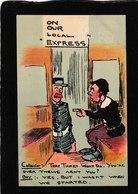 "UK-humor-""On Our Local Express"",Spatz Art 1909 - Antique Postcard - United Kingdom"