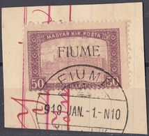 FIUME - 1919 - Yvert 14 Usato, Su Supporto Cartaceo. - 8. Occupazione 1a Guerra