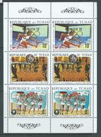 Chad 1972 Munich & Rings Gold Overprint On Summer Olympics Sheet Of 2 Strips Of 3 MNH - Chad (1960-...)