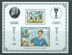 Chad 1970 Mexico Soccer World Cup Airmail Deluxe Sheet Imperforate MNH - Chad (1960-...)