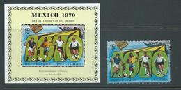 Chad 1970 Soccer World Cup Winners Brazil Imperforate Deluxe Sheet & Perforated Single MNH - Chad (1960-...)