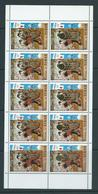 Chad 1972 Sapporo & Rings Gold Overprint On 50 C Japan Cherry Blossom Painting Sheet Of 8 MNH - Chad (1960-...)