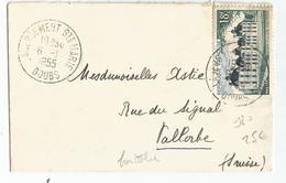 N°980 SEUL PETITE LETTRE LABERGEMENT DOUBS 6.1.1955 POUR VALLORGE SUISSE TARIF FRONTALIER - Postmark Collection (Covers)