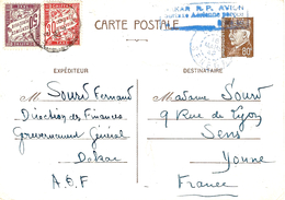 16 Mars 42 - C P E P Pétain 0,80 Par Avion De DAKAR  TAXEE  80 C - Marcophilie (Lettres)