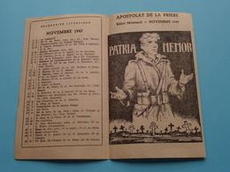 APOSTOLAT De La PRIERE - Novembre 1947 > Calendrier Liturgique ( Zie / Voir Photo ) ! - Religion & Esotérisme