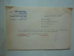 """Lettera Commerciale """"WUARINOL Orologeria All'Ingrosso MILANO"""" 1961 - Italië"""