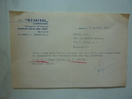 "Lettera Commerciale ""WUARINOL Orologeria All'Ingrosso MILANO"" 1961 - Italy"