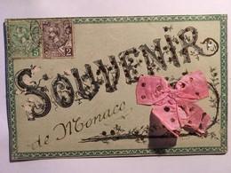 CPA, Souvenir De Monaco Brodée Avec Paillettes, Brillants, écrite En1908,timbres - Souvenir De...