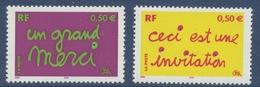 N° 3636 3637  Invitation Et Un Grand Merci, Faciale 0,50 € X 2 - France