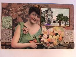 """CPA, Fantaisie, Souvenir,  Monte Carlo, """"je Vous Envoye Ces Fleurs"""" Femme Avec Bouquet De Fleurs,1906,  Timbres, Gaufrée - Souvenir De..."""