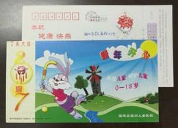 Cartoon Rabbit Playing Field Hockey,China 2007 Fuzhou Children Hospital Care Juveniles Advertising Pre-stamped Card - Hockey (sur Gazon)