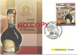 Alimentazione, Cibo, Gastronomia, Aceto Balsamico, Modena 17.4.2012, Cartolina Poste Annullata Giorno Di Emissione. - Cartoline