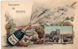 Souvenir De REIMS - Illustration De ORENS - Vue - Bouteille De Champagne - Avions  (114252) - Reims
