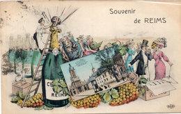 Souvenir De REIMS - Illustration De ORENS - Vue - Bouteille De Champagne   (114253) - Reims