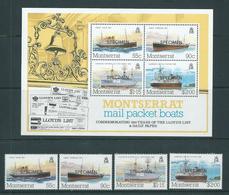 Montserrat 1984 Mail Packet Boat Set 4 & Miniature Sheet Specimen Overprint MNH - Montserrat