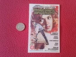 SPAIN PROGRAMA DE CINE FOLLETO MANO CINEMA PROGRAM PROGRAMME FILM PELÍCULA ENSAYO GENERAL PARA LA MUERTE SUSANA CAMPOS - Cinema Advertisement