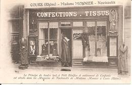 TOP CPA !!! COURS (69) Commerce Madame MONNIER - Nouveautés - Confections - Tissus (RARE Carte PUB) 2eme Cliché - Cours-la-Ville