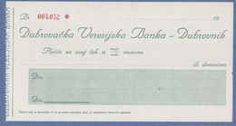 Dubrovnik-Dubrovacka Veresijska Banka,cheque - Cheques & Traveler's Cheques