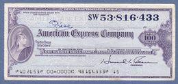 American Express Company 100 Swiss Francs-Swiss Franc Travelers Cheque - Assegni & Assegni Di Viaggio