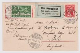 SUISSE POSTE AERIENNE 1925:  Entier De  Bern à Bath (Angleterre), Oblitération Du 4.VII.25,  TTB - Poste Aérienne