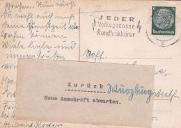 "Very Early Feldpost WW2: Postcard To 1/N. 46 In Münster P/m Würzburg 5.9.1939 - Returned ""Wait For New Address"" - Zurück - Seconda Guerra Mondiale"
