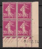 France - 1934 - N°Yv. 190 - Semeuse 20c Lilas-rose - Bloc De 4 Coin Daté - Neuf Luxe ** / MNH / Postfrisch - Esquina Con Fecha