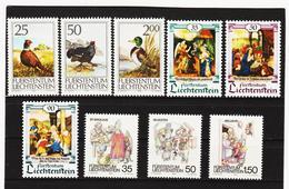 TNT345 LIECHTENSTEIN 1990 Michl 997/99 + 1005/10 ** Postfrisch SIEHE ABBILDUNG - Liechtenstein