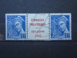 """VEND BEAUX TIMBRES DE FRANCE N° 407 EN PAIRE, REPIQUAGE """" DIJON 1942 """" , X !!! - 1938-42 Mercure"""