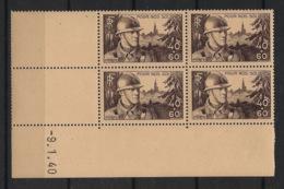 France - 1940 - N°Yv. 451 - Pour Nos Soldats - Bloc De 4 Coin Daté - Neuf Luxe ** / MNH / Postfrisch - 1940-1949