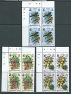 Montserrat 1985 National Emblems Set 3 Plate Number Blocks Of 4 Specimen Overprint MNH - Montserrat