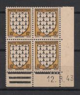 France - 1943 - N°Yv. 573 - Armoirie De Bretagne - Bloc De 4 Coin Daté - Neuf Luxe ** / MNH / Postfrisch - 1940-1949